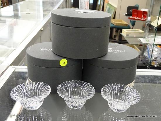 (R6B) WATERFORD CRYSTAL GERBER DAISY COVERED BOXES; TOTAL OF 3, EACH IS IN ORIGINAL LIDDED GREY BOX