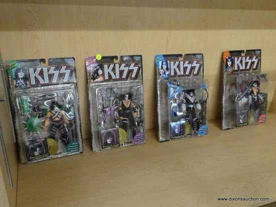 (DIS) KISS COLLECTIBLE FIGURINES; TOTAL OF 4 PIECES, IN ORIGINAL PACKAGING AND ON CARD BACKS.
