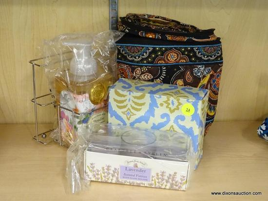 (R6B) ASSORTED ITEMS LOT; TOTAL OF 4 PIECES INCLUDING VERA BRADLEY SMALL ZIPPERED THERMAL TOTE WITH