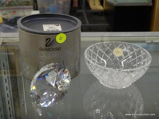 (R6B) LENOX AND SWAROVSKI CRYSTAL ITEMS; TOTAL OF 2 PIECES, ONE IS A LENOX CRYSTAL DIAMOND BOWL WITH