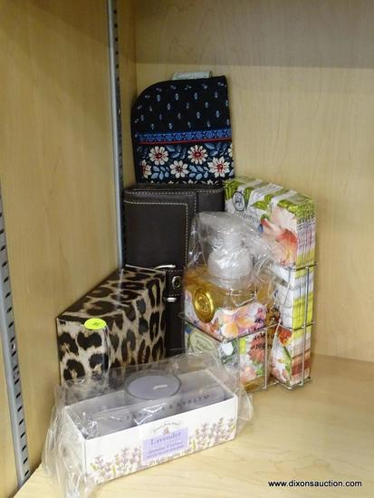 (R6B) ASSORTED ITEMS LOT; TOTAL OF 5 PIECES INCLUDING A VERA BRADLEY PATTERNED FLAT IRON COVER