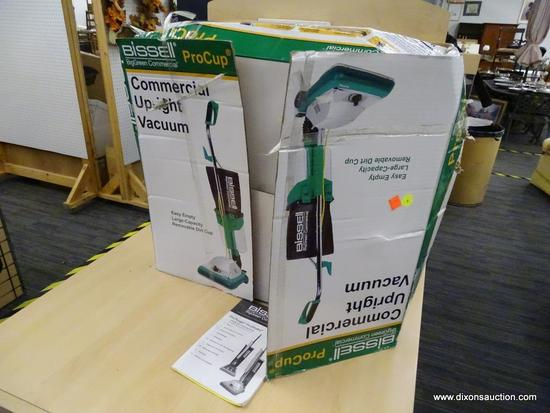 (END) BISSELL BIG GREEN COMMERCIAL PRO-CUP UPRIGHT VACUUM CLEANER; IN ORIGINAL BOX WITH INSTRUCTION