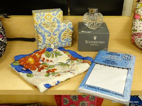 (R6B) ASSORTED ITEMS LOT; INCLUDES 4 TOTAL PIECES SUCH AS WATERFORD CRYSTAL CIGARETTE LIGHTER IN