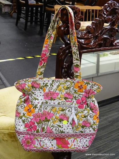 (R6B) VERA BRADLEY FLORAL TOTE; LIGHT GREY BACKGROUND WITH HOT PINK, ORANGE, WHITE, AND MAGENTA