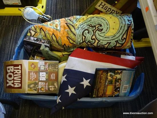 """MYSTERY TUB LOT; INCLUDES ITEMS SUCH AS AN AMERICAN FLAG, """"LAND OF THE LOST"""" DVD MOVIE STARRING WILL"""