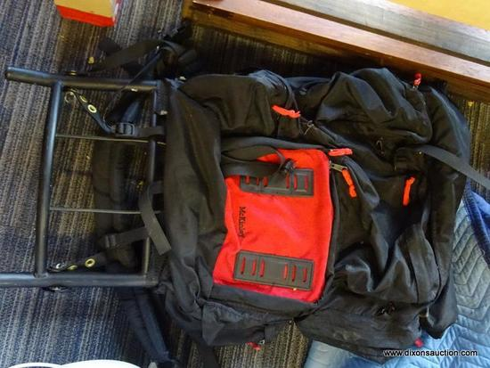 """CAMP TRAILS LARGE CAMPING BACKPACK; """"MCKINLEY"""" MODEL, ALUMINUM FRAME WITH CANVAS, BLACK AND RED IN"""