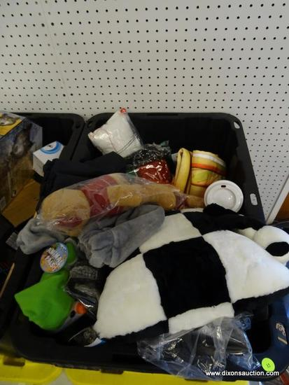MYSTERY TUB LOT; INCLUDES LED METEOR SHOWER LIGHTS, LICENSE PLATE CASE SET, PANDA THEMED PILLOW, AND