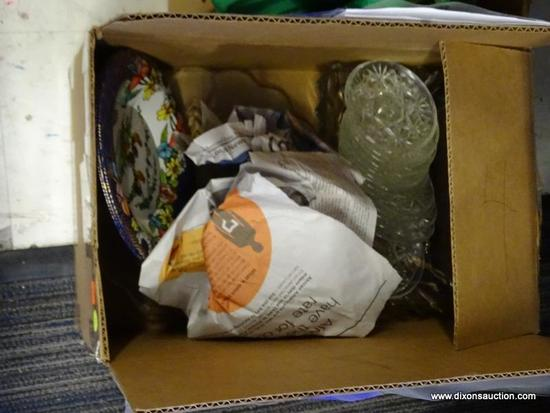 MYSTERY BOX LOT; INCLUDES A TRIO OF VINTAGE METAL BRAZILIAN ROOSTER PLATES, SET OF 16 SMALL GLASS