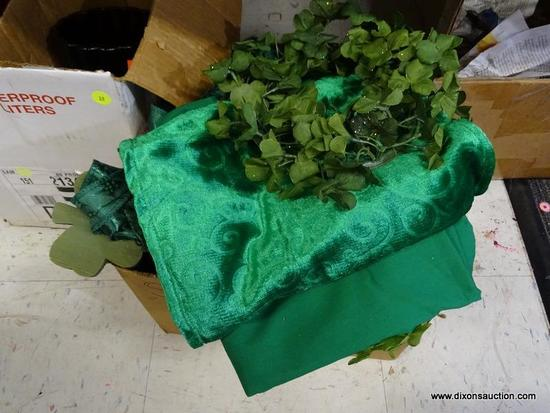 MYSTERY BOX LOT; FILLED WITH ASSORTED ST PATRICK'S DAY KELLY GREEN DECOR ITEMS SUCH AS TABLECLOTH,
