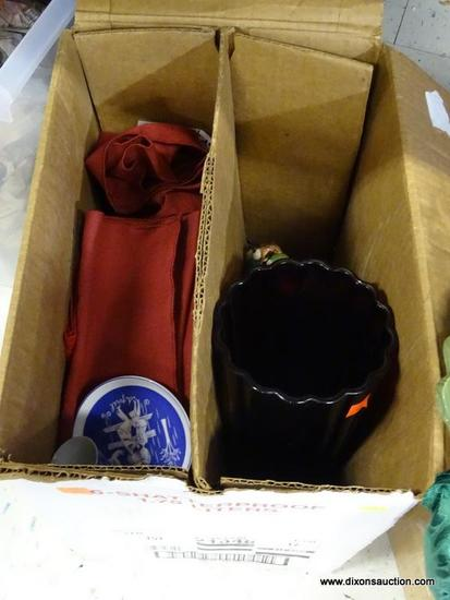MYSTERY BOX LOT; INCLUDES WINE RED LINEN DINNER NAPKINS, SMALL ROSENTHAL BLUE AND WHITE PLATE, LARGE