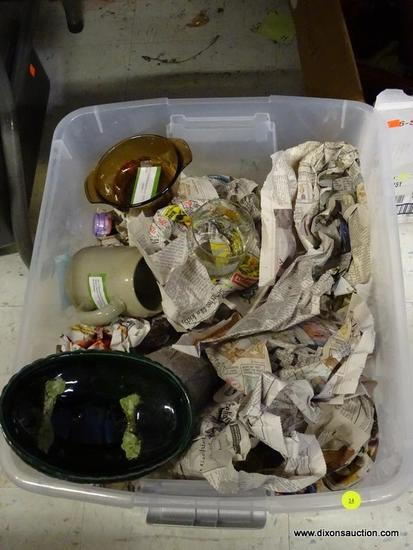 MYSTERY TUB LOT; ITEMS INCLUDE BROWN FIRE KING GLASS DISH, BISON PATTERNED VINTAGE GLASSWARE, GREEN