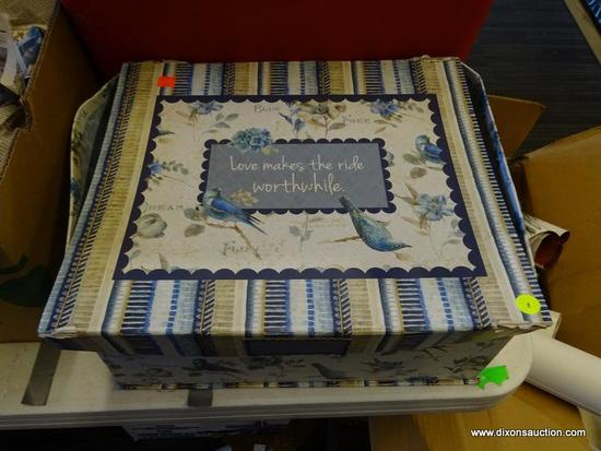 """MYSTERY BOX LOT; INCLUDES A BIRD THEMED """"LOVE MAKES THE WORLD WORTHWHILE"""" BLUE AND GRAY COLORED BOX"""