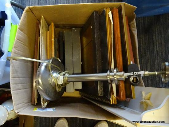 MYSTERY BOX LOT OF PICTURE FRAMES; TOTAL OF APPROXIMATELY 14 VARIOUS FRAMES OF VARYING SIZES AND