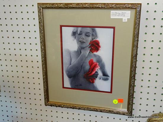 "FRAMED MARILYN MONROE PRINT; THIS PRINT OF MARILYN MONROE ""RED ROSES"" IS ONE OF A COLLECTION OF"