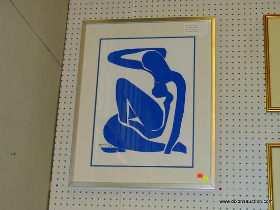 "HENRI MATISSE FRAMED PRINT; ""BLUE NUDE"" BY HENRI MATISSE. GICLEE. SIGNED BY ARTIST IN LOWER LEFT"