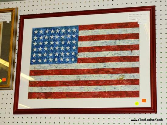 "JASPER JOHNS ""FLAG"" PRINT; THIS IS A REPRODUCTION OF JASPER JOHNS ""FLAG"" MASTERPIECE WHICH WAS"
