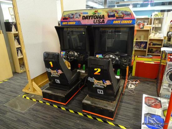 """SEGA """"DAYTONA USA"""" ARCADE-STYLE DRIVING GAME; 2-SEAT (LEFT AND RIGHT SIDE COMPONENTS) WITH"""