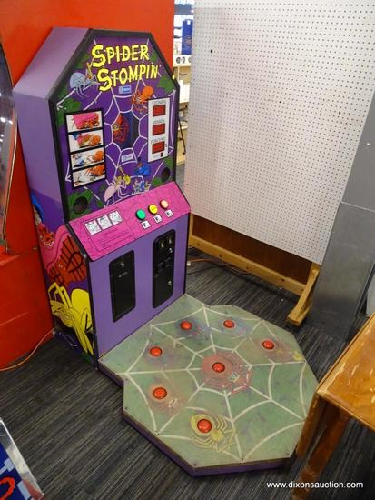 """""""SPIDER STOMPIN'"""" ARCADE-STYLE VIDEO GAME; MADE BY JALECO, UPRIGHT GAME CABINET WITH DIGITAL DISPLAY"""
