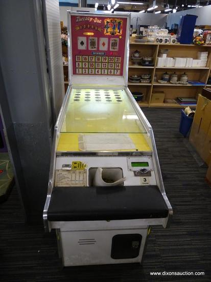 """SEIDEL AMUSEMENT IN """"TWENTY ONE"""" ARCADE GAME; WHITE IN COLOR WITH YELLOW ALLEY AND HOT PINK/MULTI"""