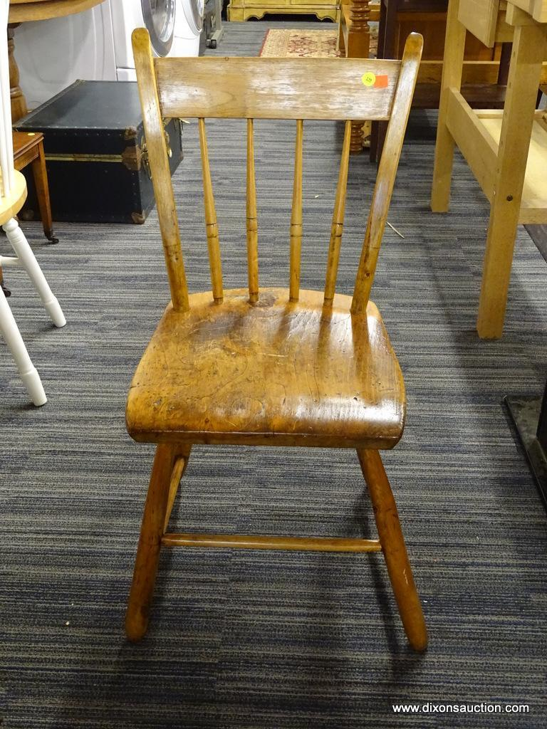 Antique Pine Side Chair With Straight