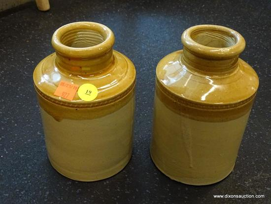 2 PIECE LOT; INCLUDES A PAIR OF TAN AND SALT GLAZED POTTERY JARS. BOTH ARE IN EXCELLENT CONDITION