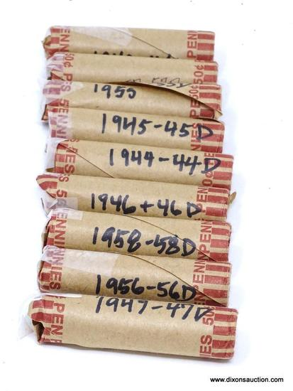 LOT OF ASSORTED ESTATE WHEAT PENNIES; THIS LOT CONTAINS 10 ROLLS OF WHEAT PENNIES. PRE ROLLED