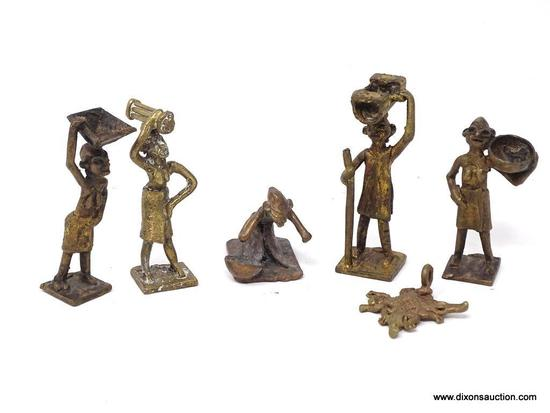 (SC) ASHANTI TRIBAL BRASS FIGURINES; TOTAL OF 6 PIECES. 1 OF A WOMAN CARRYING A BOWL ON HER HEAD, 1