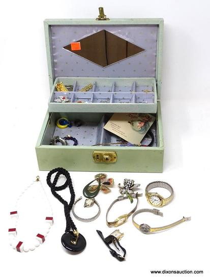 (SC) JEWELRY BOX WITH CONTENTS; INCLUDES NECKLACES, BROOCHES, LADIES WATCHES, AND MORE!