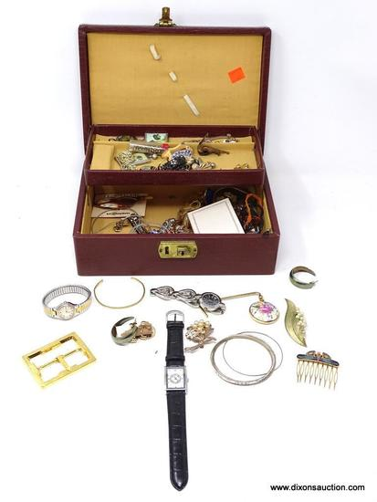 (SC) JEWELRY BOX WITH CONTENTS; INCLUDES NECKLACES, EARRINGS, BRACELETS, AND MORE!