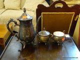TEA SET; INCLUDES 3 PIECES OF LEONARD SILVER PLATE SUCH AS A TEAPOT, A CREAMER, AND A SUGAR DISH.