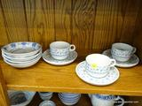 3 PIECE TEA SET; MADE BY BAUSCHER WEIDEN BAVARIA GERMANY. INCLUDES 3 CUPS AND SAUCERS. ALSO INCLUDES