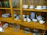 ASSORTED CHINA; 39 PIECES OF BLUE AND WHITE CHINESE MADE CHINA INCLUDING A TEAPOT, A MINI TEA POT,