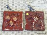 TILE WALL HANGERS; PAIR OF BURGUNDY FRUIT THEMED WALL HANGING PLAQUES/TILES. BOTH ARE IN VERY GOOD
