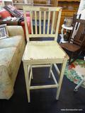 BAR CHAIR; LIGHT GREEN RUSTIC BAR CHAIR. IN VERY GOOD CONDITION! MEASURES 15 IN X 17 IN X 44 IN