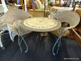 WICKER AND IRON PATIO SET; INCLUDES 2 CHAIRS AND ROUND TOP TABLE. ROUND TABLE HAS LEAF PATTERNED
