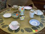ASSORTED PORCELAIN LOT; INCLUDES A MAJOLICA PAINTED CREAMER, A ROYAL DOULTON MINI PORCELAIN FLORAL
