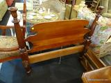 VINTAGE TWIN SIZE BED; SOLID MAHOGANY BED WITH WOODEN RAILS. IS IN EXCELLENT CONDITION! MEASURES 43