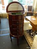 JEWELRY STAND; MAHOGANY JEWELRY STAND WITH LIFT-TOP WITH MIRROR AND INTERIOR STORAGE, 2 SIDE DOORS