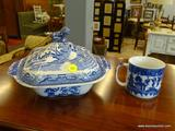 2 PIECE LOT; INCLUDES A BLUE TRANSFERWARE SHAVING MUG (IN EXCELLENT CONDITION) AND A BLUE