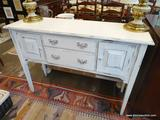 RUSTIC SIDEBOARD; FARM CHIC WHITE PAINTED 2 DRAWER AND 2 DOOR SIDEBOARD WITH STRAIGHT LEGS. IS IN