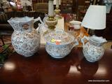 3 PIECE BATH LOT; INCLUDES A CHAMBER POT, A WASH PITCHER, AND A SMALLER PITCHER. ALL ARE MADE BY