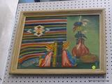 FRAMED OIL ON BOARD; DEPICTS A PAIR OF HISPANIC THEMED BOOKENDS WITH A BLANKET AND VASES IN THE