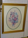 FRAMED FLORAL PRINT; IN HUES OF GREEN, BLUE, PINK, AND RED. HAS GREEN AND CREAM COLORED MATTING AND