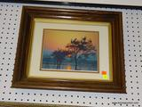 FRAMED PHOTOGRAPH; DEPICTS A PLEASANT SUNSET WITH BIRDS RESTING IN A GROUP OF TREES WATCHING EVER