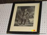 FRAMED ROBERT E. LEE PRINT; THIS PRINT IS OF GENERAL LEE STANDING WITH SWORD IN HAND POSING FOR A