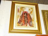AFRICAN AMERICAN ART; FRAME AFRICAN AMERICAN ART PRINT. SIGNED BY ARTIST JOSEPH HOLSTON IN LOWER