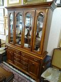 DIXIE FURNITURE CHINA CABINET; CHERRY CHINA CABINET WITH CROWN AND DENTIL MOLDING TOP, 4 GLASS