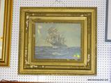 ANTIQUE FRAMED PRINT; DEPICTS A SAILING SHIP OUT ON THE HIGH SEAS AT FULL SAIL. IN AN ANTIQUE GOLD