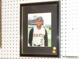 FRAMED PHOTOGRAPH; THIS PHOTOGRAPH IS OF ONE OF THE PITTSBURGH PIRATES. HAS BLACK MATTING AND IN A