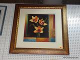 LARGE FLORAL STILL LIFE IN GOLD COLORED FRAME; SHOWS A GROUP OF BRIGHTLY COLORED FLOWERS WITH